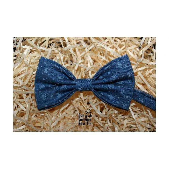 Галстук-бабочка синяя с узором
