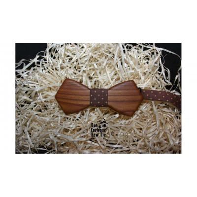 Бабочка деревянная коричневая с горохом