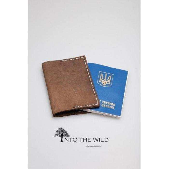 Кожаная обложка на паспорт Into the Wild handmade 1