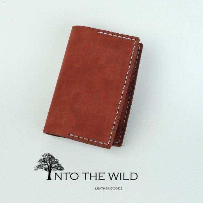 Кожаная обложка на паспорт Into the Wild handmade 3